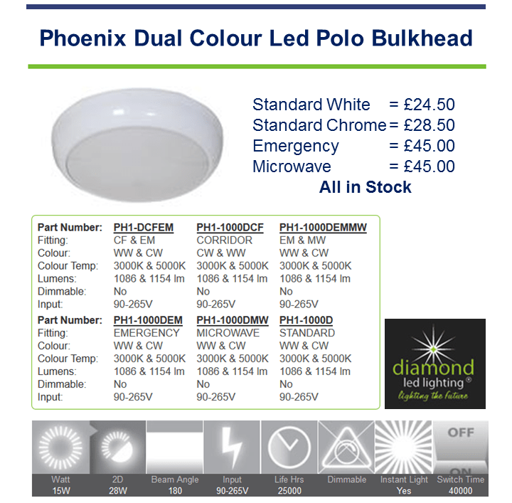 Diamond Led Polo LIght Bulkhead