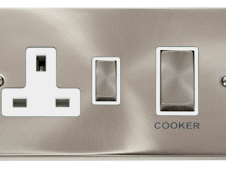 CLICK VPSC504WH 2 GANG COOKER SWITCH 45AMP WITH SOCKET