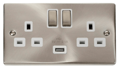 CLICK VPSC570WH USB TWIN SWITCHED SOCKET 2G DP
